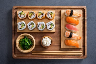 Sushi set on bamboo tray