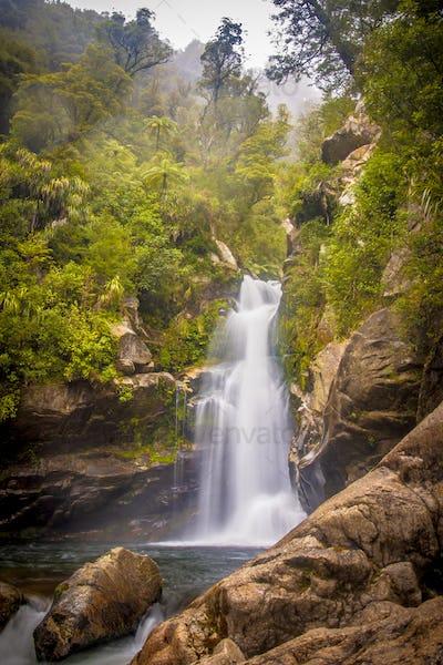 Foggy Rainforest waterfall New Zealand