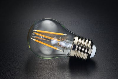 LED filament bulb on black