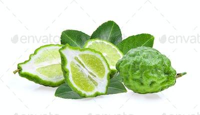 Fresh Bergamot fruit with leaf isolated on white background