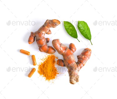turmeric with leaf isolated on white background