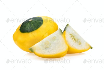 patty pan patisson squash on white background