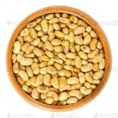 Roasted and salted soybeans in wooden bowl