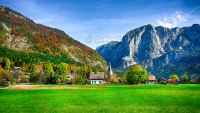 Sunny morning on the village Altaussee Alps Austria Europe