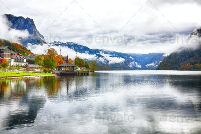 Grundlsee lake in Alps mountains