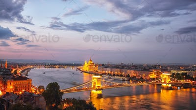 Budapest city night scene. View at Chain bridge, river Danube an