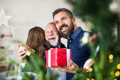 A small girl with father and grandfather exchanging presents at Christmas time.