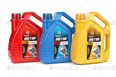 Motor oil canisters with different types of motor oil on white i