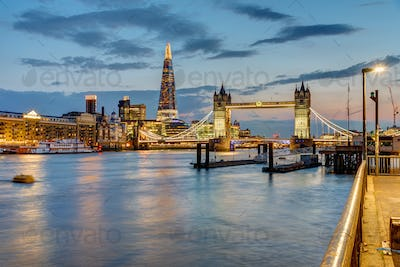 View of the river Thames in London after sunset