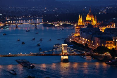 Budapest Parliament and famous Bridges