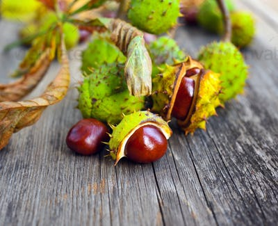 Chestnuts with dry leaves on old wooden background