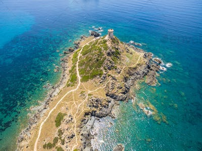 Aerial view of Sanguinaires bloodthirsty Islands in Corsica, Fra
