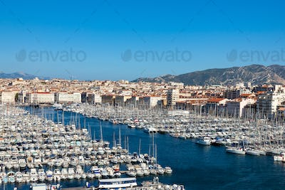 View of Marseille pier - Vieux Port in south of France