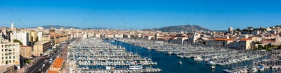 Panoramic View of Marseille pier - Vieux Port in south of France