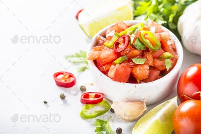 Salsa sauce on white