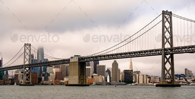 Long Panoramic View San Francisco Ferry Terminal City Skyline