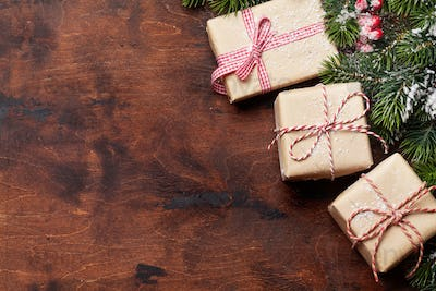 Christmas gift boxes and xmax fir tree