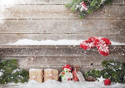 Christmas gift boxes, decor and xmas fir tree