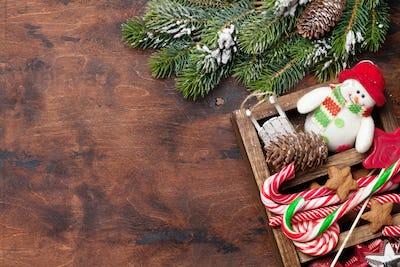 Christmas decor box and fir tree