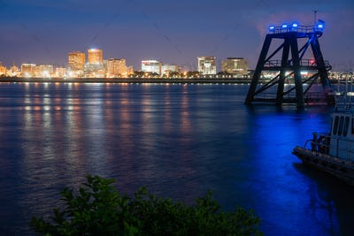 Dock Pilings Shine Blue Mississippi River Flowing By Baton Rouge