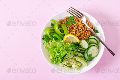 Concept healthy food and sports lifestyle. Vegetarian lunch.