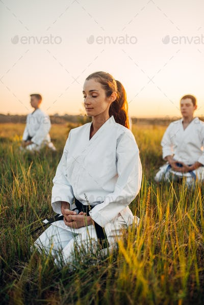 Karate class meditates on training in summer field