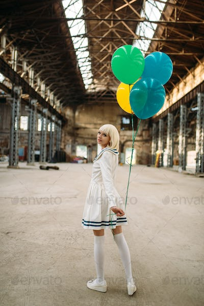 Anime style blonde lady with colorful air balloons