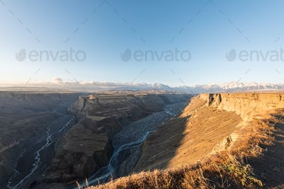 sun shines on the grand canyon, xinjiang