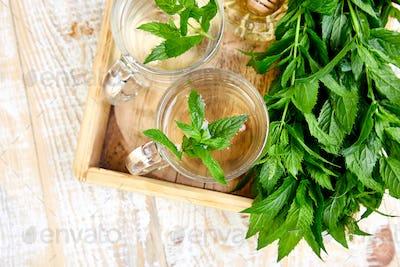 Hot herbal mint tea drink in glass mug