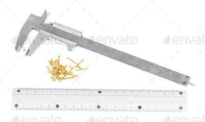 callipers, metallic ruler and lot of brass screws