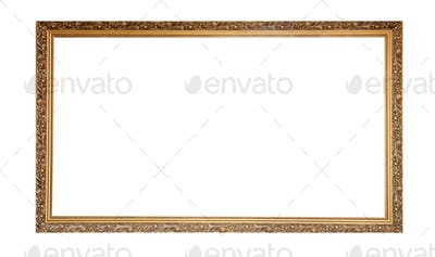 Golden empty frame isolated on white background. Copy space
