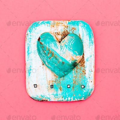 Souvenir. Handmade. Wooden heart  Flat lay Love
