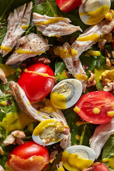 Clos-up natural colorful background with ingredients of homemade salad - fresh green clean