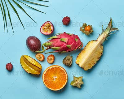 A variety of exotic fresh fruits and a palm branch on a blue background with copy space. Flat lay