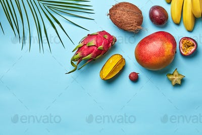 Summer composition of ripe sweet exotic fruits and palm branches on a blue background with space for