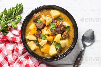 Beef stew with vegetables (goulash) carrot, pototo and pumpkin