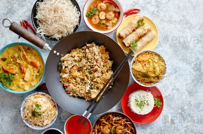 Chinese food set. Asian style food concept composition.
