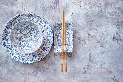 Empty traditional set tableware from Asia.