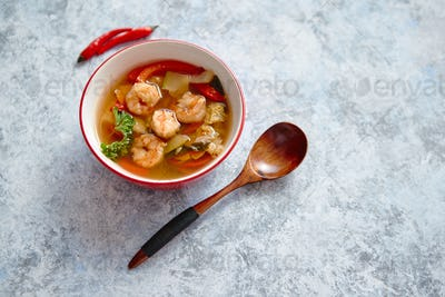 Traditional Tom Yum spicy Thai soup with shrimp
