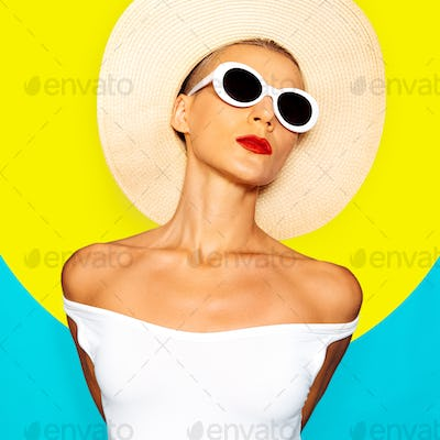 Sensual Lady in beach accessories. Minimal Geometry and Stylish