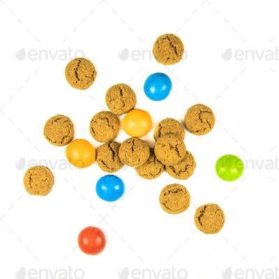 Bunch of scattered pepernoten cookies