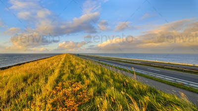 Afsluitdijk dutch dike sunset