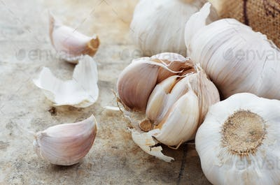 Garlic on cement floor