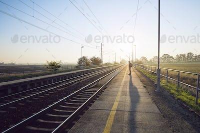 Man waiting for train