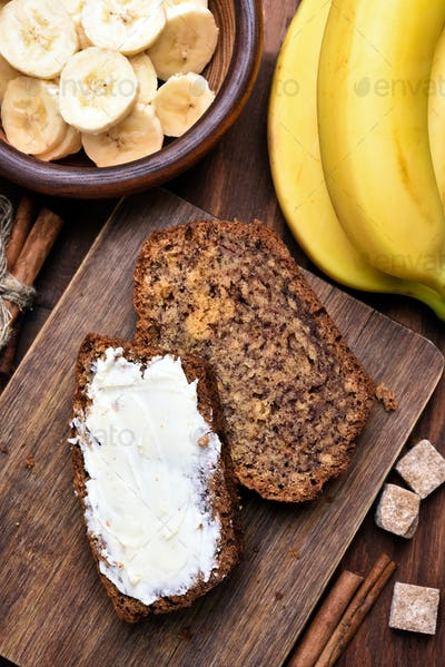 Butter on slices of banana bread