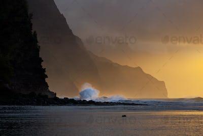 Na Pali Coast Wave Sunset, Kauai