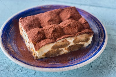 Portion of Tiramisu dessert