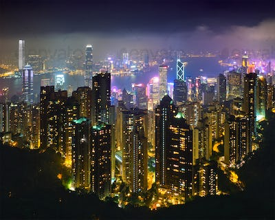 Hong Kong skyscrapers skyline cityscape view