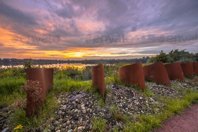 Curved Metal objects in landscape