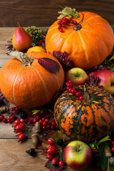 Fall rustic decor with three orange pumpkins